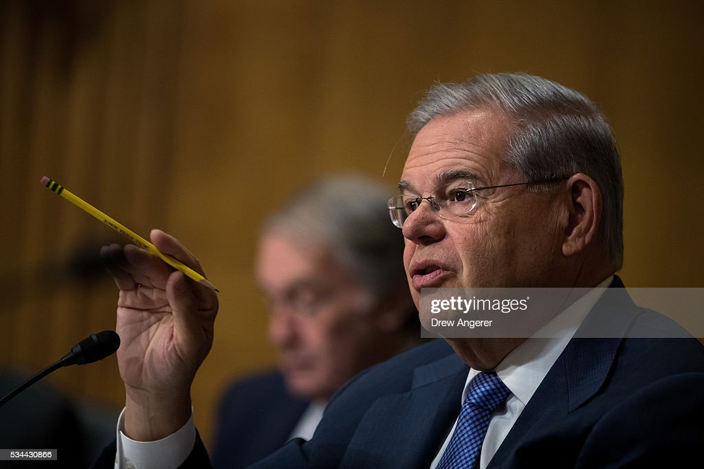 Sen. Robert 'Bob' Menendez (D-NJ) questions witnesses during a Senate Foreign Relations Committee hearing concerning cartels and the U.S. heroin epidemic, on Capitol Hill, May 26, 2016, in Washington, DC. According to the U.S. Centers for Disease Control and Prevention, from 2002 to 2013 the rate of heroin-related deaths quadrupled in the United States, with most of the increase coming after 2010.