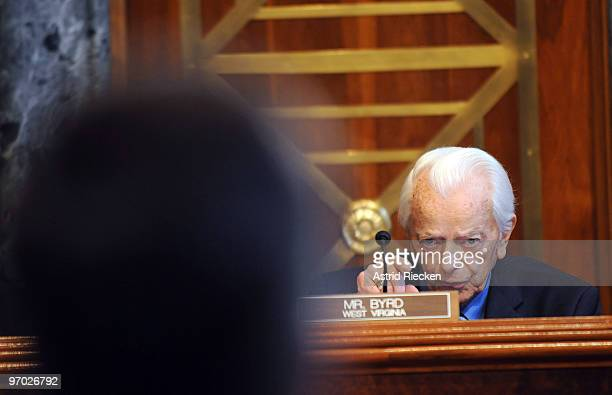 S Sen Robert C Byrd of West Virginia points at Homeland Security Secretary Janet Napolitano makes his opening statement before the secretary begins...