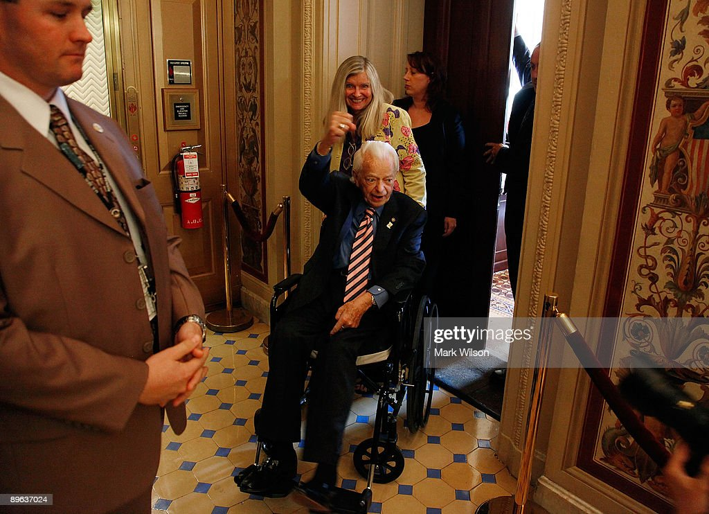 Sen. Robert C. Byrd (D-WV) sits in a wheelchair as he is brought to the Senate floor to vote on judge Sonia Sotomayor, on Capitol Hill August 6, 2009 in Washington, DC. The Senate passed confirmed the nomination of judge Sonia Sotomayor making her the next Supreme Court Justice.