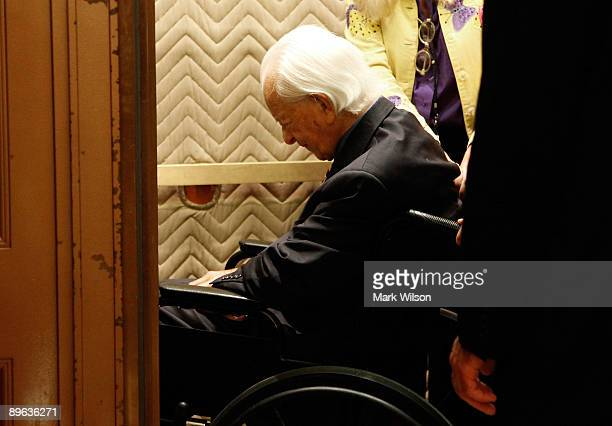 Sen Robert C Byrd sits in a wheelchair as he takes an elevator to the Senate floor to vote on judge Sonia Sotomayor on Capitol Hill August 6 2009 in...