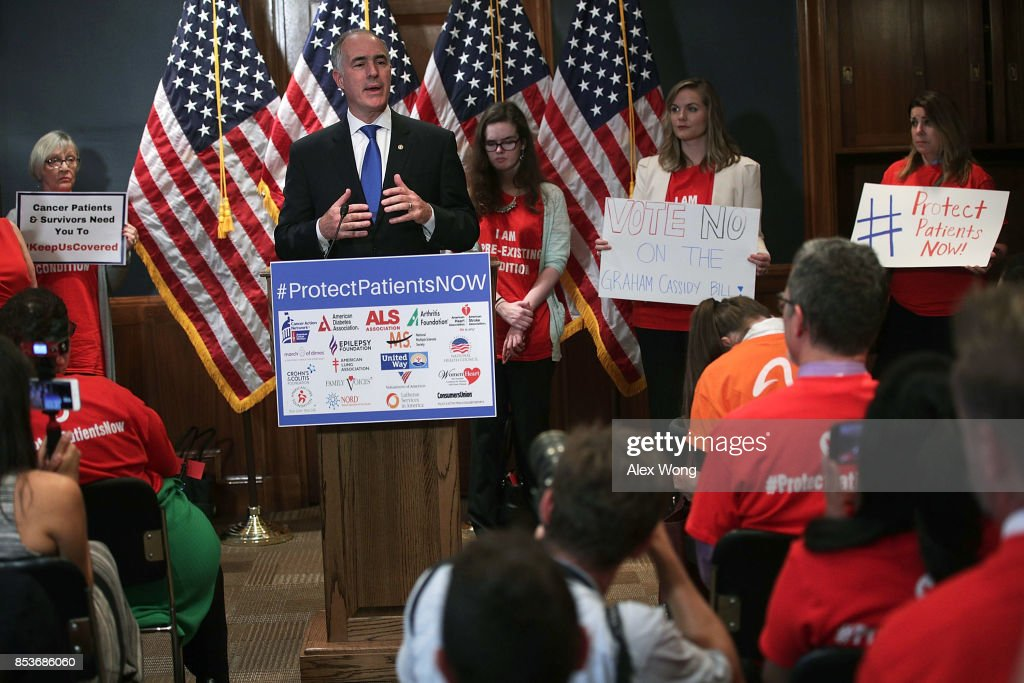 U.S. Sen. Robert Casey (D-PA) speaks during a news conference on health care September 25, 2017 on Capitol Hill in Washington, DC. Patient groups gathered on Capitol Hill to urged to reject the Graham-Cassidy health care bill.