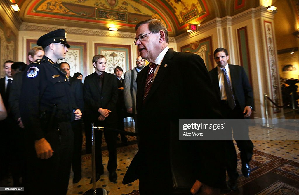 U.S. Sen. <a gi-track='captionPersonalityLinkClicked' href=/galleries/search?phrase=Robert+Menendez&family=editorial&specificpeople=504931 ng-click='$event.stopPropagation()'>Robert Menendez</a> (D-NJ) arrives at a mark up hearing before Senate Foreign Relations Committee to vote on the nomination of Sen. John Kerry (D-MA) to be secretary of State January 29, 2013 on Capitol Hill in Washington, DC. The Senate panel has approved the nomination and it is expected the full Senate will pick up the vote today to confirm the nomination to succeed Hillary Clinton.