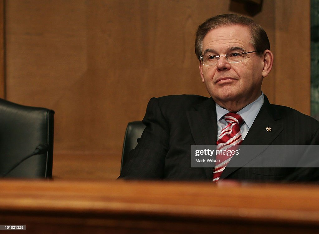Sen. Robert Menendez (D-NJ), attends the Senate Finance Committee's confirmation hearing for Treasury Secretary nominee Jack Lew, February 13, 2013 in Washington, DC. If confirmed by the U.S. Senate Mr. Lew will replace Tim Geithner as Treasury Secretary.