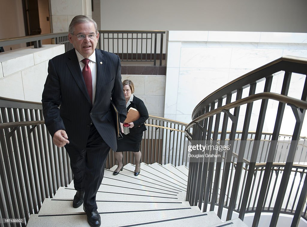 Sen. Robert Menendez, D-NJ., walks to a classified briefing on April 25, 2013 on the bombings in Boston. Members of the U.S. Senate and Senate leadership received the latest updates from members of the U.S. intelligence community on developments.
