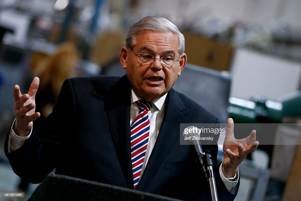 U.S. Sen. Robert Menendez (D-NJ) speaks as he visits the Pen Company of America to discuss the America Star program on March 23, 2015 in Garwood, New Jersey. The legislation is intended to recognize American businesses who strive to create good jobs for workers. Federal investigators are expected to file criminal charges against Menendez as early as this week for possible corruption charges.