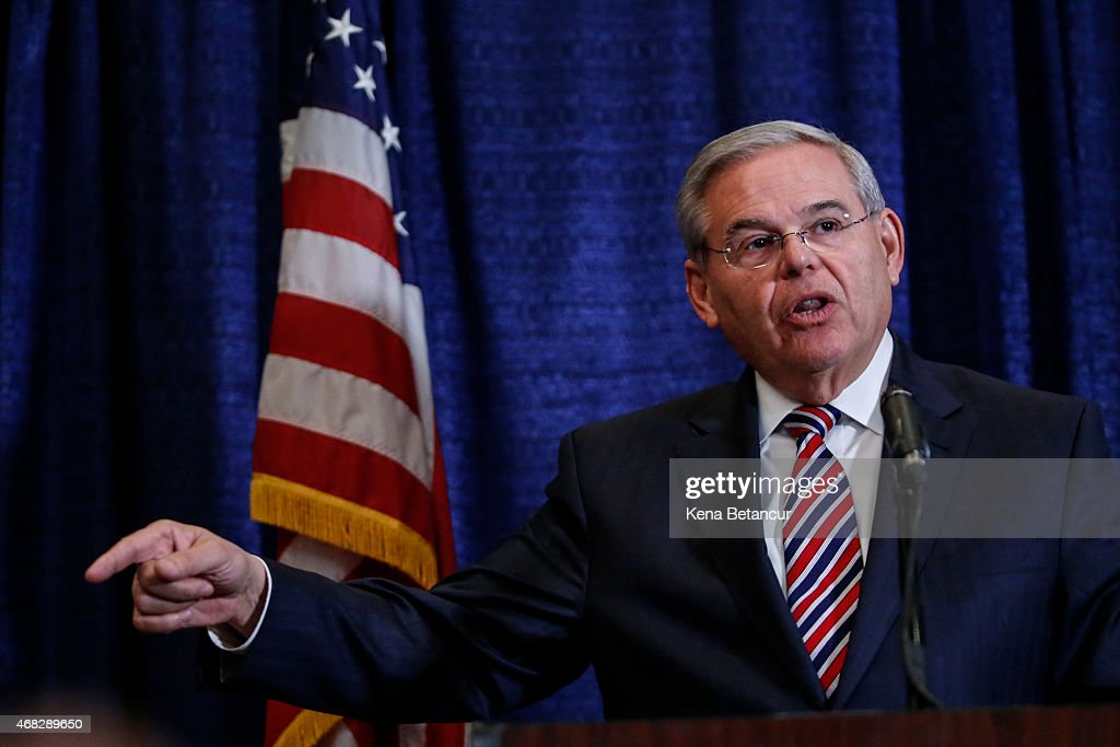 Sen. Robert Menendez (D-NJ) speaks at a press conference on April 1, 2015 in Newark, New Jersey. According to reports, Menendez has been indicted on federal corruption charges of conspiracy to commit bribery and wire fraud.