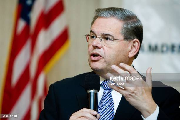 S Sen Robert Menendez speaks during a campaign stop October 31 2006 in Cherry Hill New Jersey One week before elections Menendez leads Republican...
