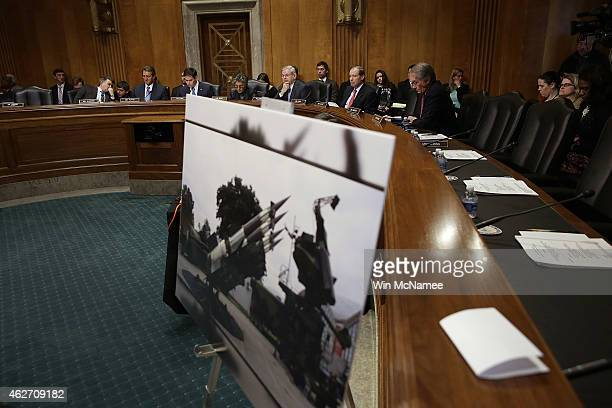 S Sen Robert Menendez speaks during a hearing of the Senate Foreign Relations Western Hemisphere Subcommittee February 3 2015 in Washington DC The...