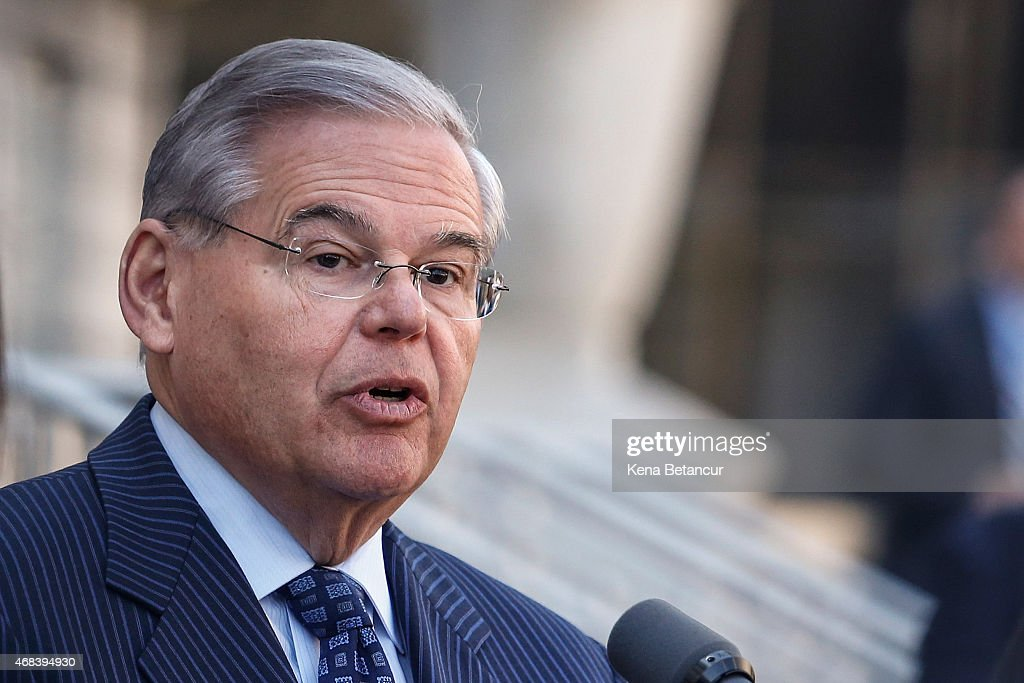 U.S. Sen. Robert Menendez (D-NJ) speaks outside the federal court after he was indicted on corruption charges on April 2, 2015 in Newark, New Jersey. Sen. Menendez and Dr. Salomon Melgen are being indicted on corruption charges stemming from the senator being accused of accepting nearly $1 million in gifts and campaign contributions.