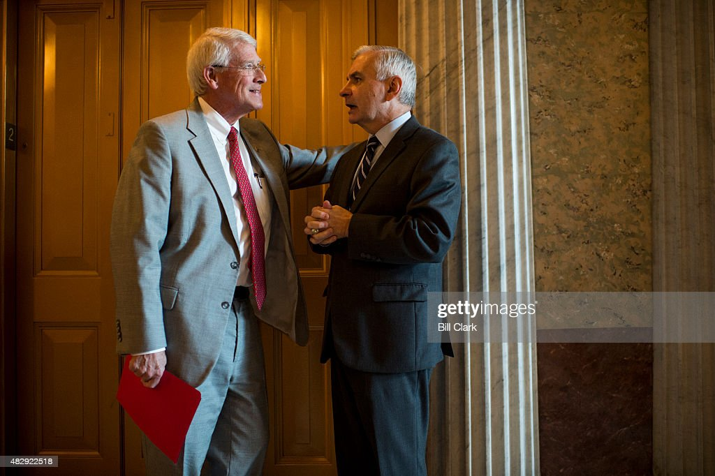 Sen. <a gi-track='captionPersonalityLinkClicked' href=/galleries/search?phrase=Roger+Wicker&family=editorial&specificpeople=1194753 ng-click='$event.stopPropagation()'>Roger Wicker</a> (R-MS) left, and Sen. <a gi-track='captionPersonalityLinkClicked' href=/galleries/search?phrase=Jack+Reed+-+Politician&family=editorial&specificpeople=534274 ng-click='$event.stopPropagation()'>Jack Reed</a> (D-RI) talk on the second floor of the Capitol as they both arrive for the policy luncheons on Tuesday, Aug. 4, 2015.