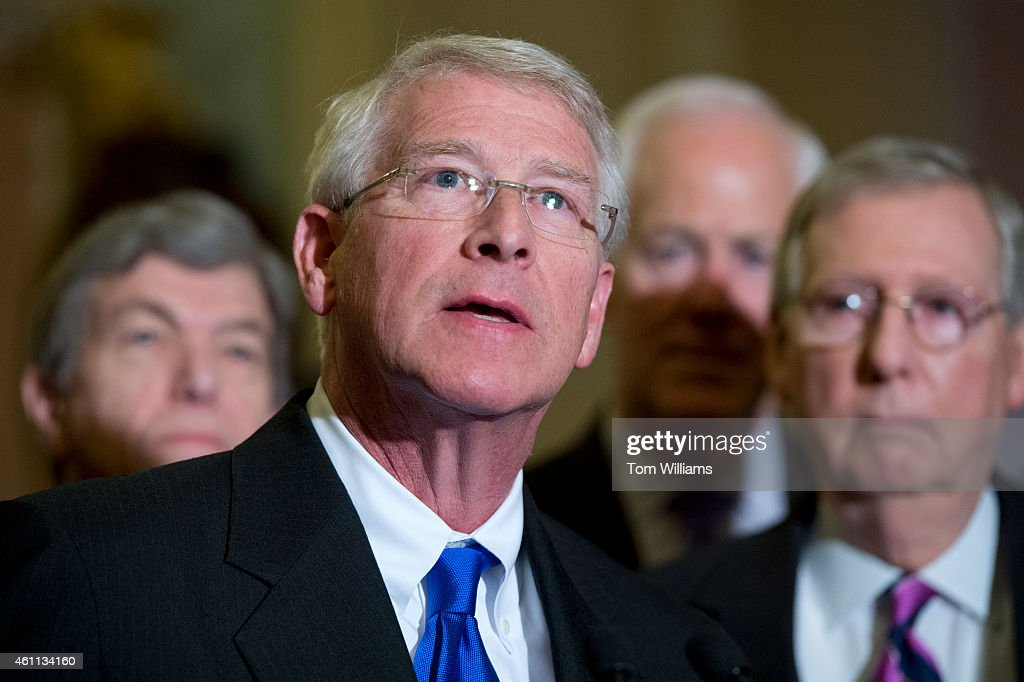 Sen. <a gi-track='captionPersonalityLinkClicked' href=/galleries/search?phrase=Roger+Wicker&family=editorial&specificpeople=1194753 ng-click='$event.stopPropagation()'>Roger Wicker</a>, R-Miss., speaks at a news conference after the senate luncheons with Sens. <a gi-track='captionPersonalityLinkClicked' href=/galleries/search?phrase=Roy+Blunt&family=editorial&specificpeople=233679 ng-click='$event.stopPropagation()'>Roy Blunt</a>, R-Mo., left, Senate Majority Leader <a gi-track='captionPersonalityLinkClicked' href=/galleries/search?phrase=Mitch+McConnell&family=editorial&specificpeople=217985 ng-click='$event.stopPropagation()'>Mitch McConnell</a>, R-Ky., right, and Senate Majority Whip John Conryn, R-Texas, after the senate luncheons in the Capitol, January 7, 2015.