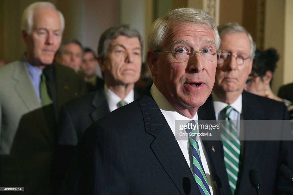 Sen. <a gi-track='captionPersonalityLinkClicked' href=/galleries/search?phrase=Roger+Wicker&family=editorial&specificpeople=1194753 ng-click='$event.stopPropagation()'>Roger Wicker</a> (R-MS) talks to reporters about a sex trafficking bill that has stalled in the Senate following the weekly Senate Republican policy luncheon at the U.S. Capitol March 17, 2015 in Washington, DC. Senate Majority Leader Mitch McConnell (R-KY) said he will not move on to a vote to confirm Loretta Lynch, the nominee to replace Attorney General Eric H. Holder, until the Senate votes on the sex trafficking bill.