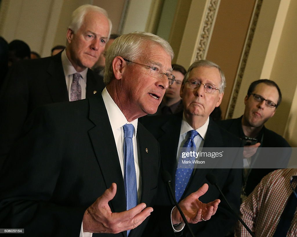 Sen. <a gi-track='captionPersonalityLinkClicked' href=/galleries/search?phrase=Roger+Wicker&family=editorial&specificpeople=1194753 ng-click='$event.stopPropagation()'>Roger Wicker</a> (R-MS) (C), speaks to the media while flanked by Sen. <a gi-track='captionPersonalityLinkClicked' href=/galleries/search?phrase=John+Cornyn&family=editorial&specificpeople=154884 ng-click='$event.stopPropagation()'>John Cornyn</a> (R-TX) (L), and Senate Majority Leader <a gi-track='captionPersonalityLinkClicked' href=/galleries/search?phrase=Mitch+McConnell&family=editorial&specificpeople=217985 ng-click='$event.stopPropagation()'>Mitch McConnell</a> (R-KY) (R), on Capitol Hill, February 2, 2016 in Washington, DC. The Senators discussed the comprehensive energy legislation that is currently before the Senate.