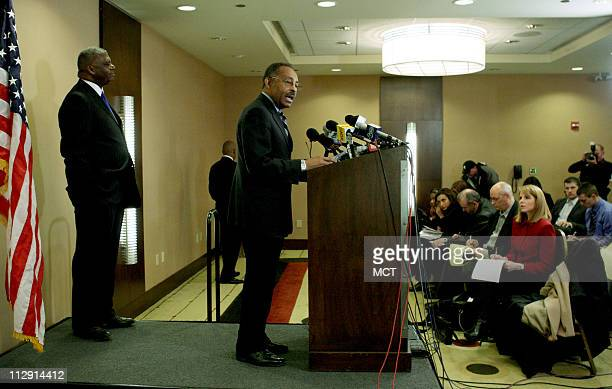 US Sen Roland Burris DIll discusses an affidavit that he filed February 5 as he meets with reporters at the Crowne Plaza Chicago hotel on Sunday...
