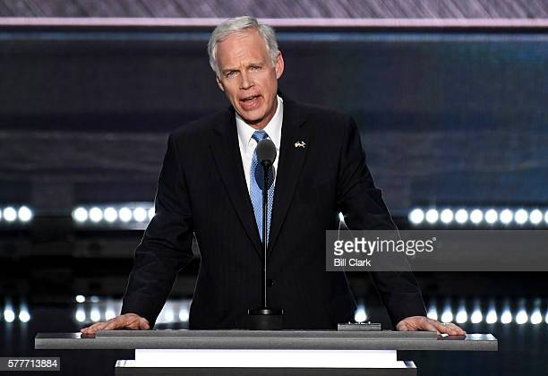 Sen Ron Johnson RWis speaks at the 2016 Republican National Convention in Cleveland Ohio on Monday July 19 2016