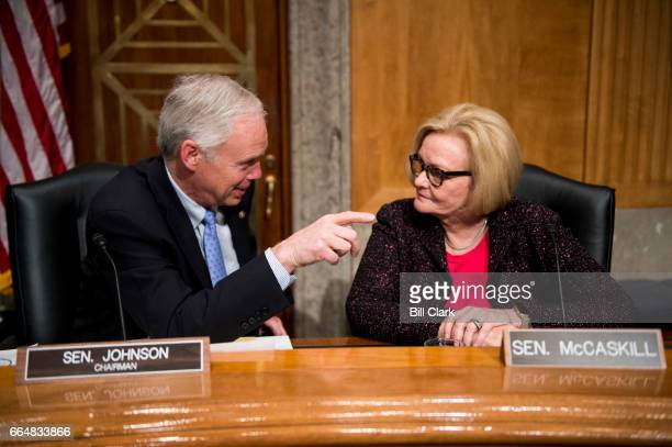 Sen Ron Johnson RWisc and Sen Claire McCaskill DMo talk before the arrival of Secretary of Homeland Security John Kelly for the Senate Homeland...