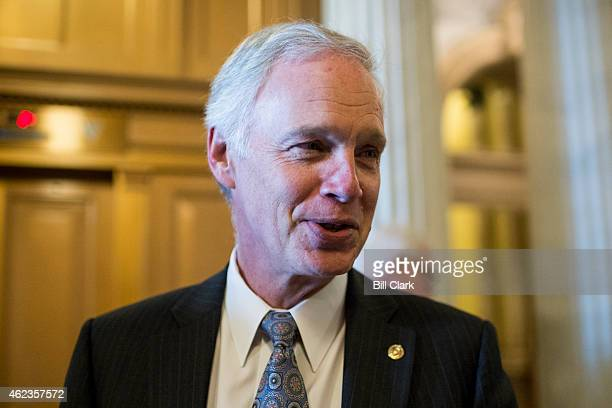 Sen Ron Johnson RWisc speaks with reporters following the Senate Republicans' policy lunch on Tuesday Jan 27 2015