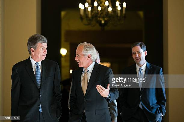 Sen Roy Blunt and Sen Bob Corker talk with each other as they leave Sen Mitch McConnell's office and walk toward the Senate floor on Capitol Hill...
