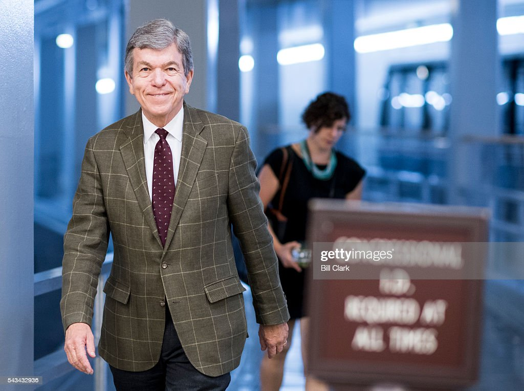Sen. Roy Blunt (R-MO) arrives in the Capitol for the Senate Republicans' policy luncheon on Tuesday, June 28, 2016.