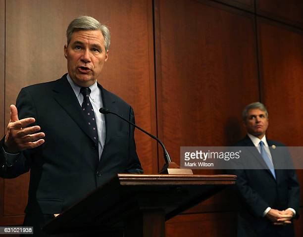 Sen Sheldon Whitehouse and House Homeland Security Chairman Michael McCaul speak about cybersecurity during news conference on Capitol Hill January 5...