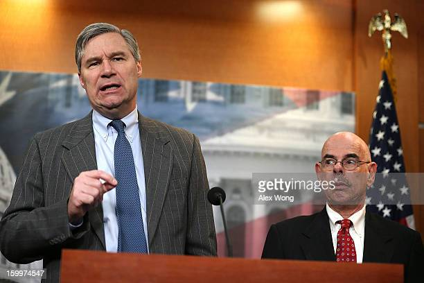 S Sen Sheldon Whitehouse and Rep Henry Waxman speak to the media during a news conference January 24 2013 on Capitol Hill in Washington DC The...