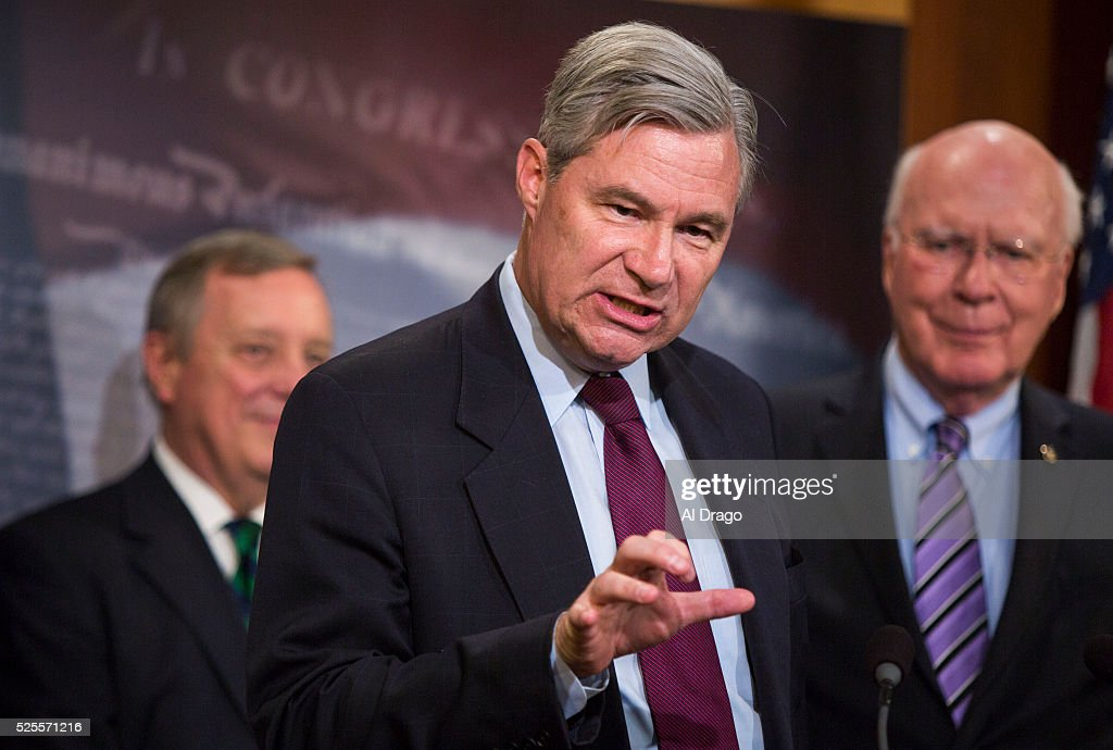 STATES - APRIL 28 - Sen. Sheldon Whitehouse, D-R.I., speaks during a news conference about proposed criminal sentencing reform legislation, in the U.S. Capitol in Washington, Thursday, April 28, 2016. Behind Whitehouse is Sen. Dick Durbin, D-Ill., and Sen. Patrick Leahy, D-Vt.
