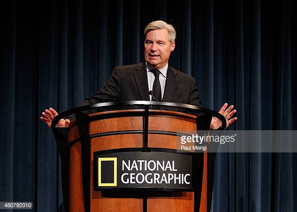 Sen Sheldon Whitehouse makes a few remarks at a special preview screening of the Netflix film Mission Blue at the National Geographic Society's...