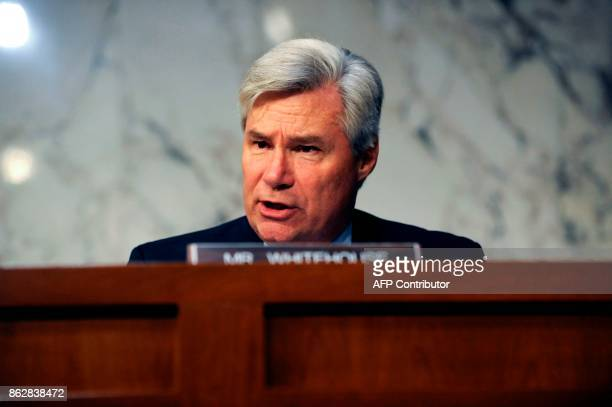 Sen Sheldon Whitehouse questions Attorney General Jeff Sessions during a Senate Judiciary Committee hearing on 'Oversight of the US Department of...
