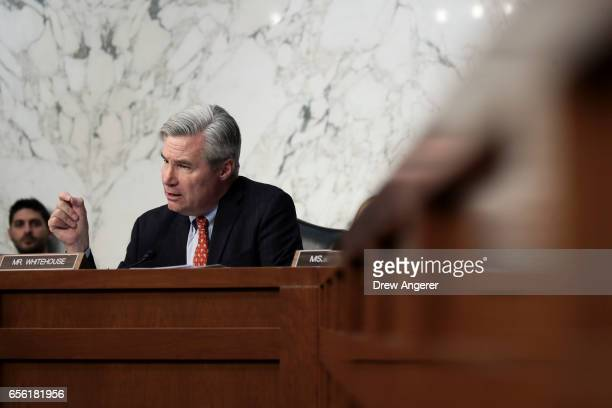 Sen Sheldon Whitehouse questions Judge Neil Gorsuch during second day of his Supreme Court confirmation hearing before the Senate Judiciary Committee...
