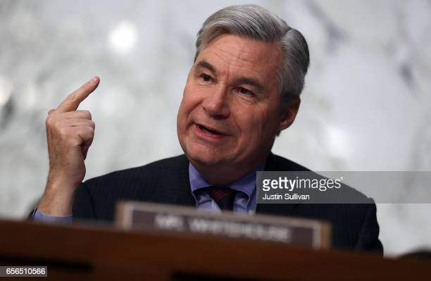 S Sen Sheldon Whitehouse questions Judge Neil Gorsuch during the third day of his Supreme Court confirmation hearing before the Senate Judiciary...