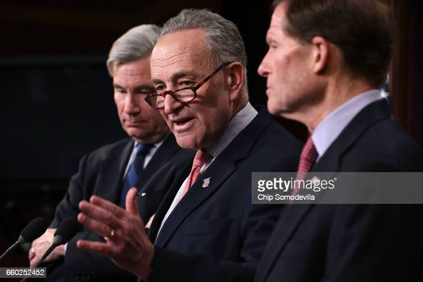 Sen Sheldon Whitehouse Senate Minority Leader Charles Schumer and Sen Richard Blumenthal hold a news conference to call on Republicans to reveal the...