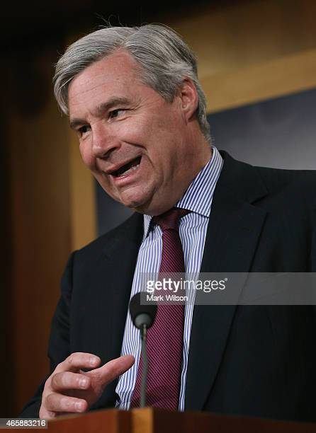 Sen Sheldon Whitehouse speaks about ending sequestration during a news conference on Capitol Hill March 11 2015 in Washington DC Senate Budget...