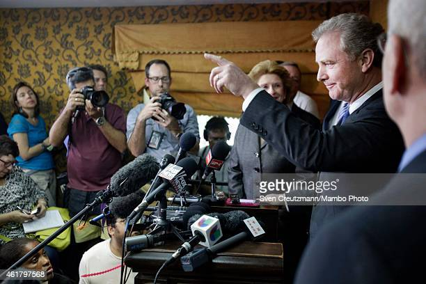 Sen Sheldon Whitehouse speaks at a press conference at the hotel Saratoga on January 19 in Havana Cuba The members of Congress were part of a...