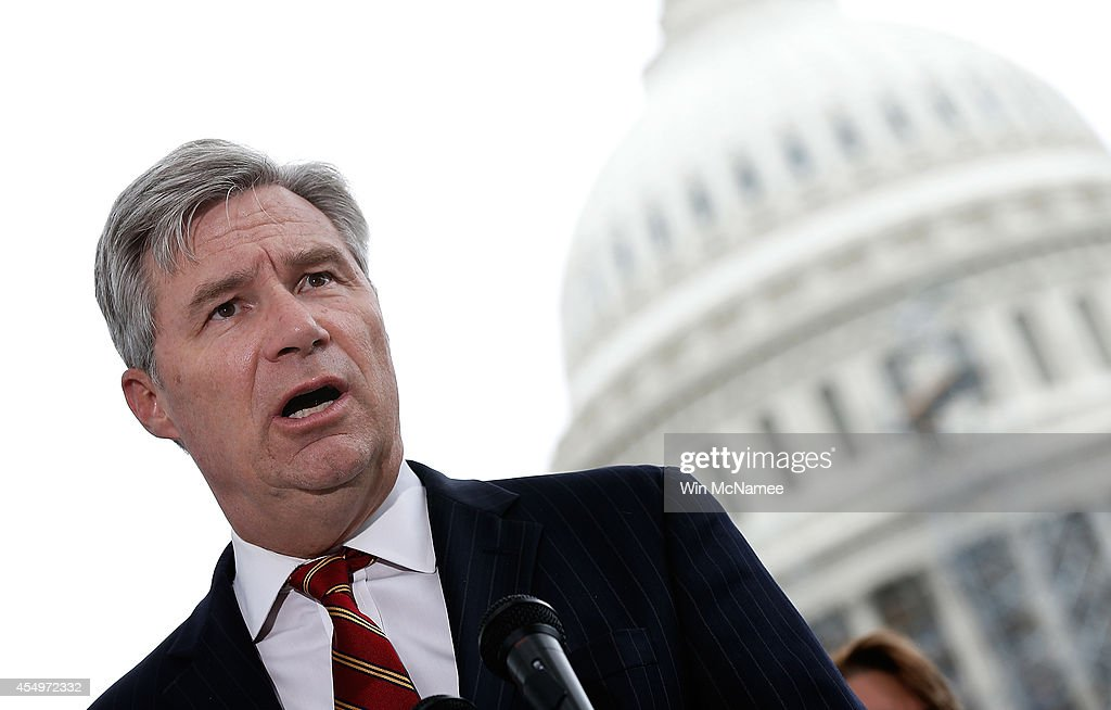 Sen. <a gi-track='captionPersonalityLinkClicked' href=/galleries/search?phrase=Sheldon+Whitehouse&family=editorial&specificpeople=599442 ng-click='$event.stopPropagation()'>Sheldon Whitehouse</a> (D-RI) speaks at a press conference where members of Congress discussed a joint resolution proposing an amendment to the Constitution of the United States relating to contributions and expenditures intended to affect elections outside the U.S. Capitol September 8, 2014 in Washington, DC. More than 3 million people signed petitions in support of the amendment.