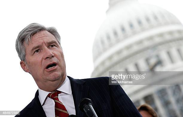Sen Sheldon Whitehouse speaks at a press conference where members of Congress discussed a joint resolution proposing an amendment to the Constitution...