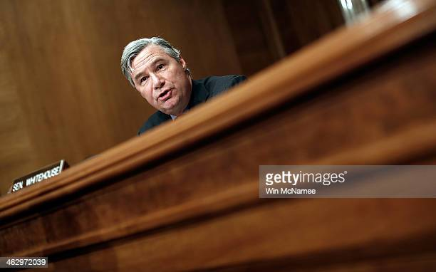 Sen Sheldon Whitehouse speaks during a hearing of the Senate Environment Committee January 16 2014 in Washington DC The committee heard testimony...