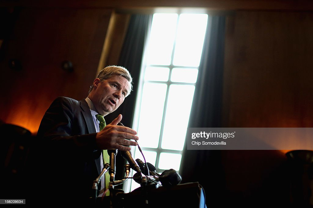 Sen. <a gi-track='captionPersonalityLinkClicked' href=/galleries/search?phrase=Sheldon+Whitehouse&family=editorial&specificpeople=599442 ng-click='$event.stopPropagation()'>Sheldon Whitehouse</a> (D-RI) speaks during a news conference about preserving Medicaid funding during the 'fiscal cliff' negotiations at the Dirksen Senate Office Building on Capitol Hill December 11, 2012 in Washington, DC. Democratic legislators from the Senate and House were joined by representatives from major unions and policy organizations in calling on the White House and Congressional negotiators to protect funding for Medicaid, a health program for people and families with low incomes and resources.
