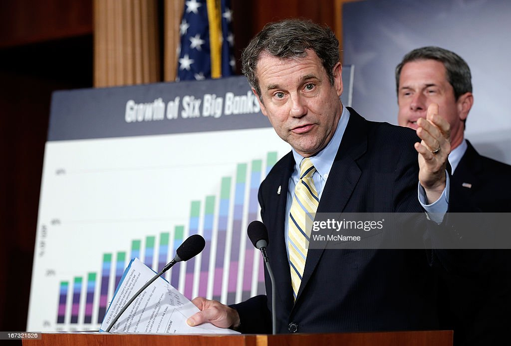 Sen. <a gi-track='captionPersonalityLinkClicked' href=/galleries/search?phrase=Sherrod+Brown&family=editorial&specificpeople=3986311 ng-click='$event.stopPropagation()'>Sherrod Brown</a> (D-OH) (L) and Sen. <a gi-track='captionPersonalityLinkClicked' href=/galleries/search?phrase=David+Vitter&family=editorial&specificpeople=506565 ng-click='$event.stopPropagation()'>David Vitter</a> (R-LA) (R) speak during a press conference announcing the details of 'Too Big to Fail' legislation at the U.S. Capitol April 24, 2013 in Washington, DC. The legislation would include capital requirements for financial institutions to protect against losses and prevent the use of federal funds to bail them out should they fail.
