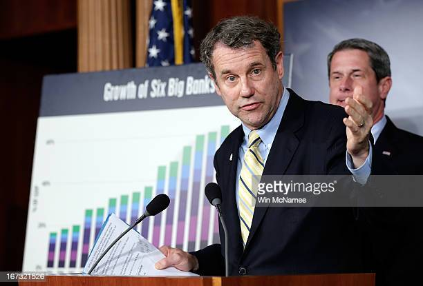 Sen Sherrod Brown and Sen David Vitter speak during a press conference announcing the details of 'Too Big to Fail' legislation at the US Capitol...