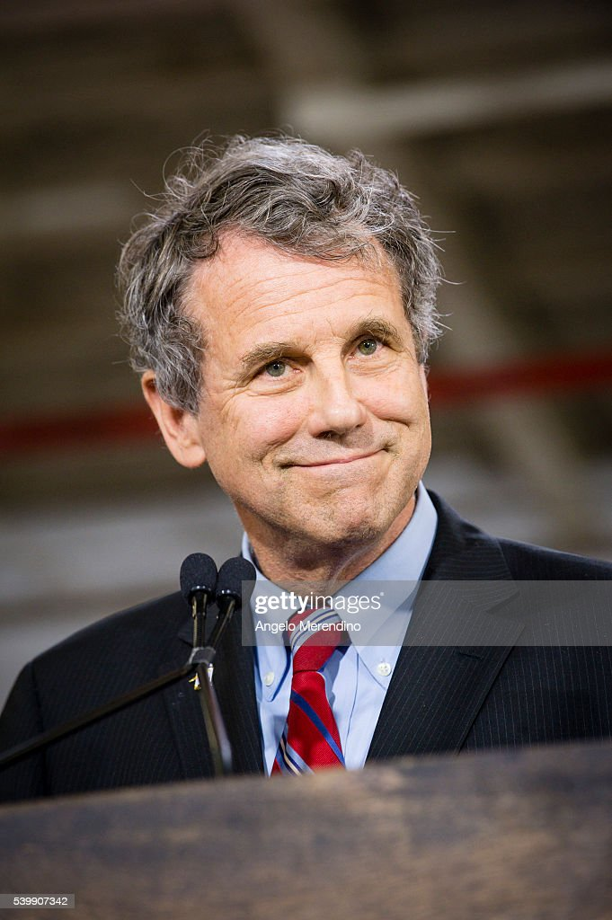 Sen. <a gi-track='captionPersonalityLinkClicked' href=/galleries/search?phrase=Sherrod+Brown&family=editorial&specificpeople=3986311 ng-click='$event.stopPropagation()'>Sherrod Brown</a> (D-OH) speaks at a campaign rally for Democratic presidential candidate Hillary Clinton on June 13, 2016 in Cleveland, Ohio. In the wake of the shooting in Orlando, Florida, Clinton is campaigning in Ohio and Pennsylvania to present her vision for a stronger and safer America.