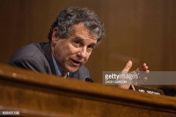 Sen Sherrod Brown speaks during a hearing to Senate Veterans' Affairs hearing to to examine David Shulkin's nomination to be Secretary of Veterans'...