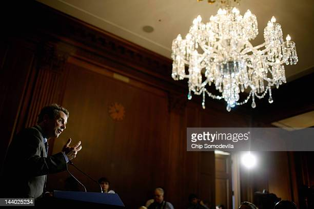 Sen Sherrod Brown speaks during a news conference about the student loan bill currently being debated by US Senate at the US Capitol May 8 2012 in...