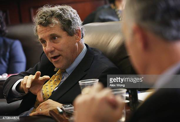 S Sen Sherrod Brown speaks to members of the media April 23 2015 on Capitol Hill in Washington DC Sen Brown discussed with the press on the Pacific...