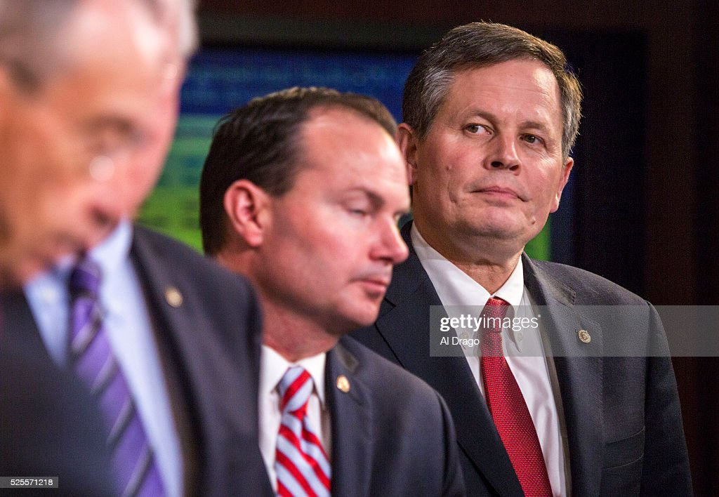 STATES - APRIL 28 - Sen. Steve Daines, R-Mont., stands beside Sen. Mike Lee, R-Utah, as they listen during a news conference about proposed criminal sentencing reform legislation, in the U.S. Capitol in Washington, Thursday, April 28, 2016.