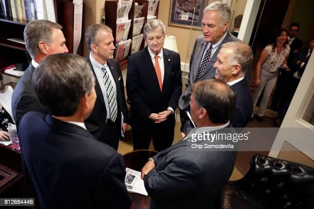 Sen Steve Daines Sen David Perdue Sen Dan Sullivan Sen John Kennedy Sen Luther Strange Sen Thom Tillis and Sen Mike Rounds meet ahead of a news...