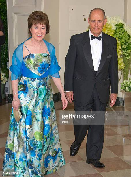 Sen Susan Collins and Peter Vigue arrive for the State Dinner in honor of Prime Minister Trudeau and Mrs Sophie Trudeau of Canada at the White House...