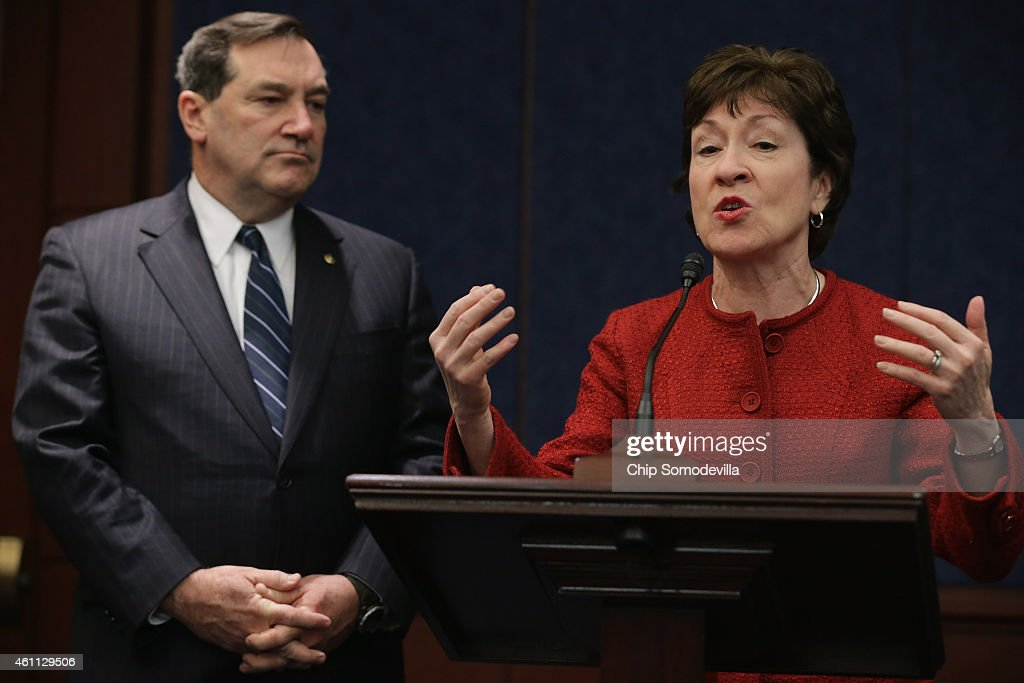 Sen. <a gi-track='captionPersonalityLinkClicked' href=/galleries/search?phrase=Susan+Collins&family=editorial&specificpeople=212962 ng-click='$event.stopPropagation()'>Susan Collins</a> (R-ME) (R) and Sen. <a gi-track='captionPersonalityLinkClicked' href=/galleries/search?phrase=Joe+Donnelly&family=editorial&specificpeople=3269744 ng-click='$event.stopPropagation()'>Joe Donnelly</a> (D-IN) hold a news conference to announce their reintroduction of the 'The Forty Hours is Full Time Act,' in the U.S. Capitol Visitors Center January 7, 2015 in Washington, DC. President Barack Obama threatened to veto the House version of the 40-hour legislation, which would allow employers to avoid providing health coverage to workers who put in less than 40 hours a week -- up from the law's current 30-hour threshold.