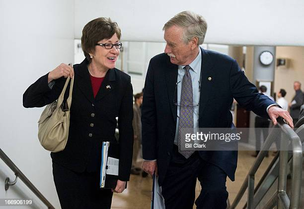 Sen Susan Collins RMaine and Sen Angus King IMaine talk as they arrive in the Capitol for a vote on Thursday April 18 2013