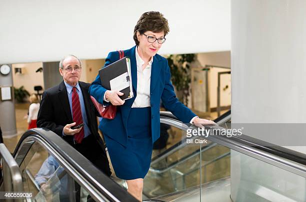 Sen Susan Collins RMaine and Sen Jim Risch RIdaho arrive for the Senate Republicans' policy lunch in the Capitol on Tuesday Dec 16 2014