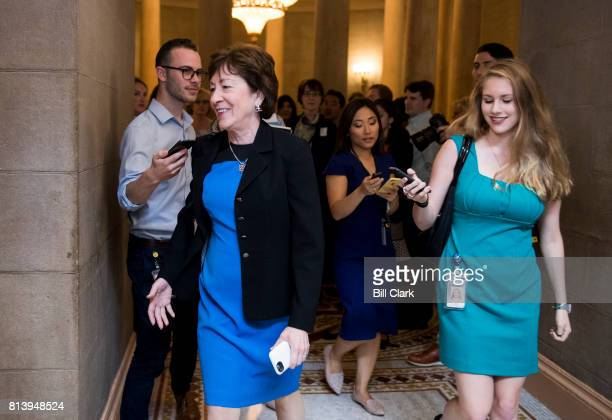 Sen Susan Collins RMaine arrives for the meeting for the unveiling of the Senate Republicans' new version of health care plan on Thursday July 13 2017